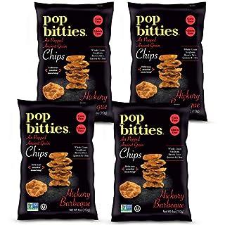 Pop Bitties Ancient Grain Chips - Gluten Free, Vegan - Popped Sorghum, Quinoa, Brown Rice, Chia (Hickory Barbecue Flavor) Allergen Friendly, Non-GMO