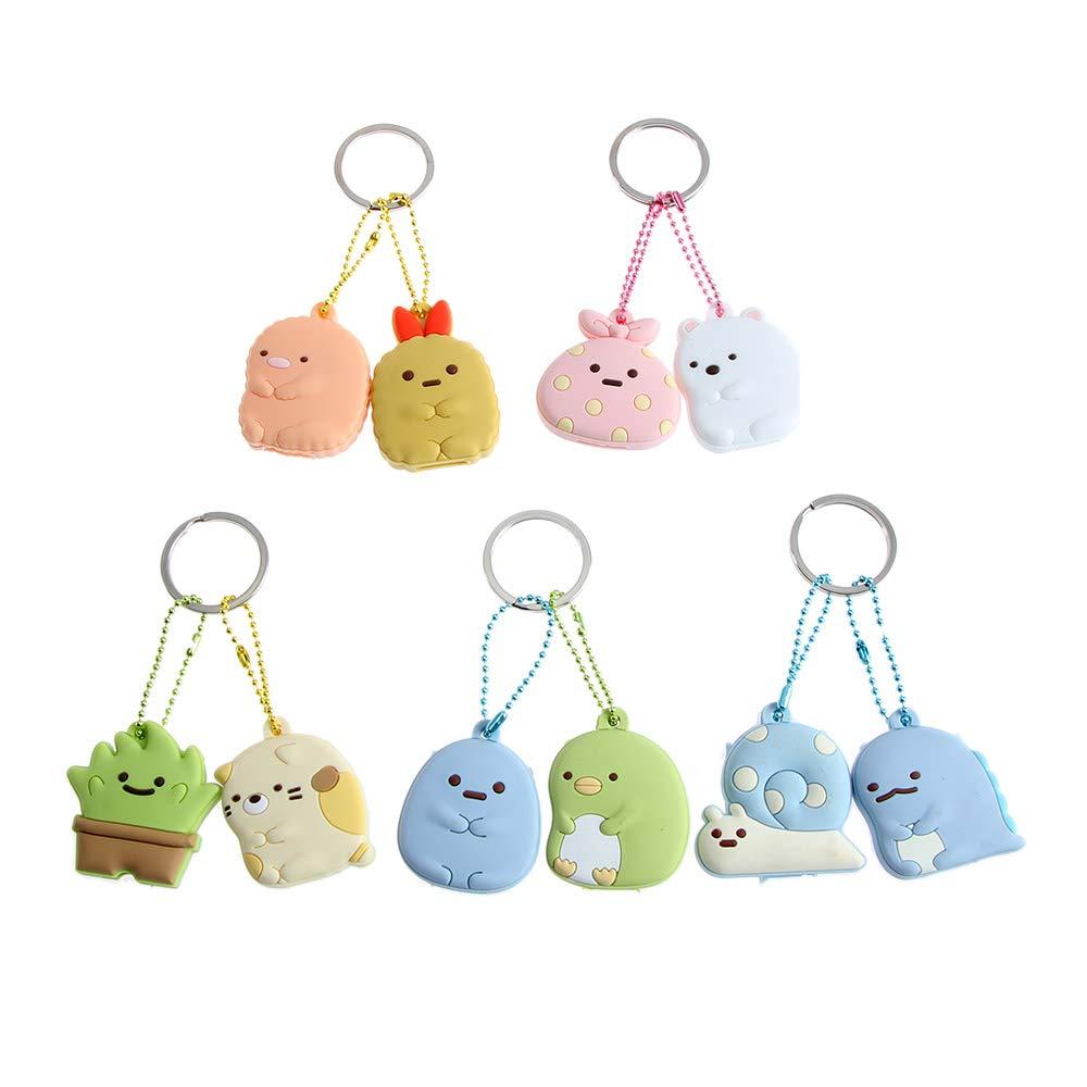 PAFUWEI 5 Pcs Cute Key Cap Covers Set Key Cap Tags Animal Key Identifier Caps Cartoon Keychain Pendant for House Key Label Tags, Assorted Colors