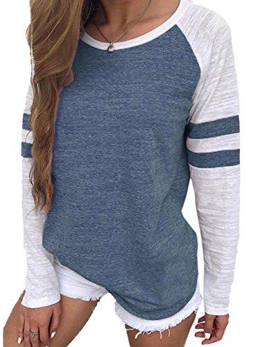 WD-Amour Women's Casual Round Neck Long Raglan Sleeve Baseball T-Shirt Tunic Tops(S,Blue)
