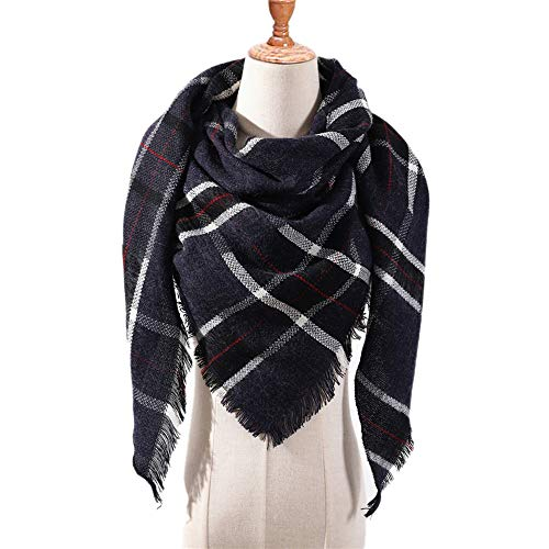 MJ-Young Designer Women Plaid Winter Scarves For Ladies Cashmere Shawls Wraps Warm Triangle Pashmina g9 onesize