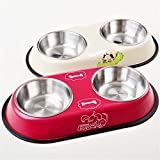 Dog Cat Food Bowls Feeder Double Diner Stainless Steel Pet Bowl Anti Slip Mat (S)