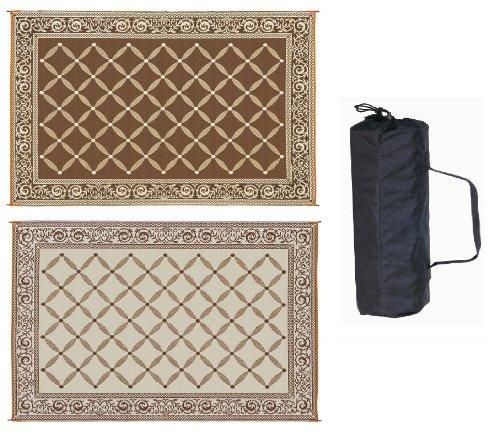 Reversible Mat Brown & Beige Patio Mat (9' x 12')