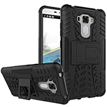 """Asus ZenFone 3 Laser (ZC551KL) Case 5.5"""",B1ST Military Tires Leather with Kickstand Heavy Duty Cover Impact Resistant Corner Protection Shockproof Anti-fall,Scratch Resistant TPU Soft Cover for ASUS Zenfone 3 Laser ZC551KL 5.5 Inch (Black)"""