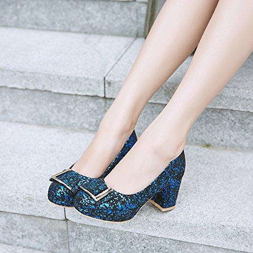 Carolbar Femmes Brillant Chic Élégance Soirée Talons Hauts Pompes Chaussures Bleu