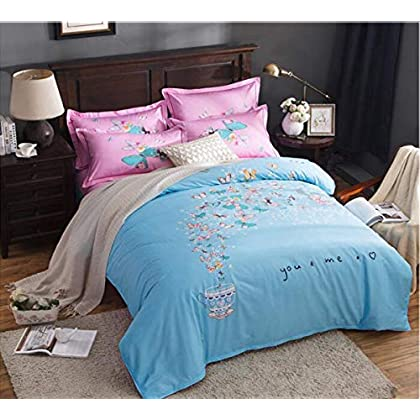 Image of Home and Kitchen HUROohj Cotton,The New Bedding Four Sets,European Style£¬Bedding Kits£¨ 4 Pcs£for Bed Size Twin/Queen/King,£­King