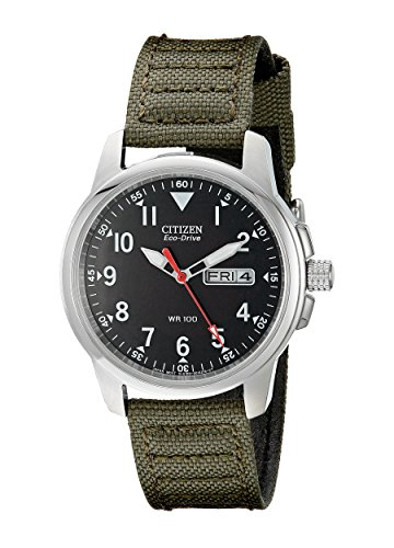 Citizen Men's Eco-Drive Stainless Steel Watch with Day/Date display, BM8180-03E - Hour Dial Green Nylon Strap