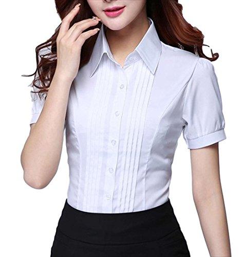 本当のことを言うと怠感契約(フムフム) fumu fumu シャツ レディース 白 半袖 カッターシャツ ワイシャツ Yシャツ