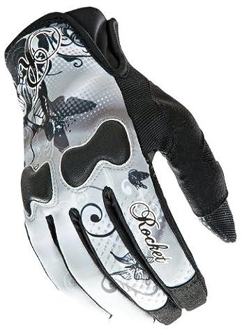 Joe Rocket Nation Women White/Black Textile Motorcycle Gloves - Small - Textile Motorcycle Gloves