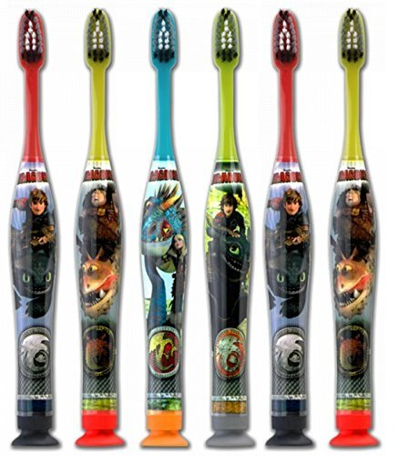 GUM Dragons Kids Toothbrush with Suction Cup Base for Little Children 3+ Years Old, Soft - Pack of 6 Dragon Toothbrush