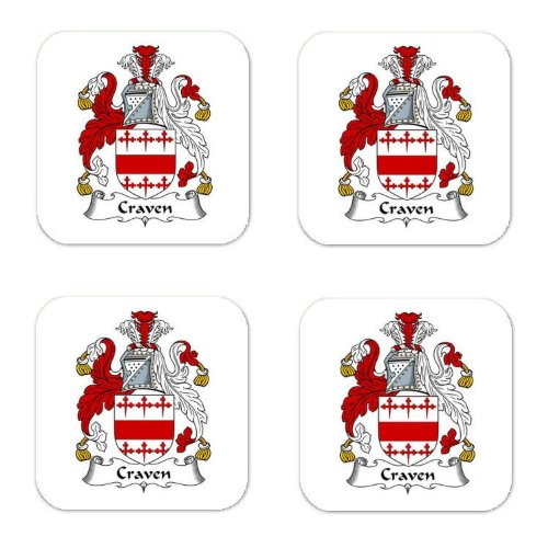 - Craven Family Crest Square Coasters Coat of Arms Coasters - Set of 4