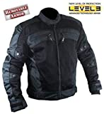 Xelement CF380 Men's Black Armored Mesh Jacket - Large