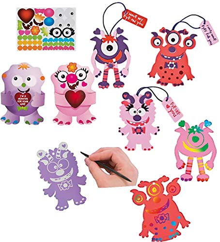 Monster Valentine Kids Crafts 3 Different Kits 48pcs ; Magic Scratch ; Foam Ornaments Sets ; Exchange Cards with Stickers ; Enough for 12 Children to do 3 Separate Activities