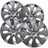 15 inch Hubcaps Best for 2012-2016 Toyota Prius - (Set of 4) Wheel Covers 15in Hub Caps Silver Rim Cover - Car Accessories for 15 inch Wheels - Snap On Hubcap, Auto Tire Replacement Exterior Cap