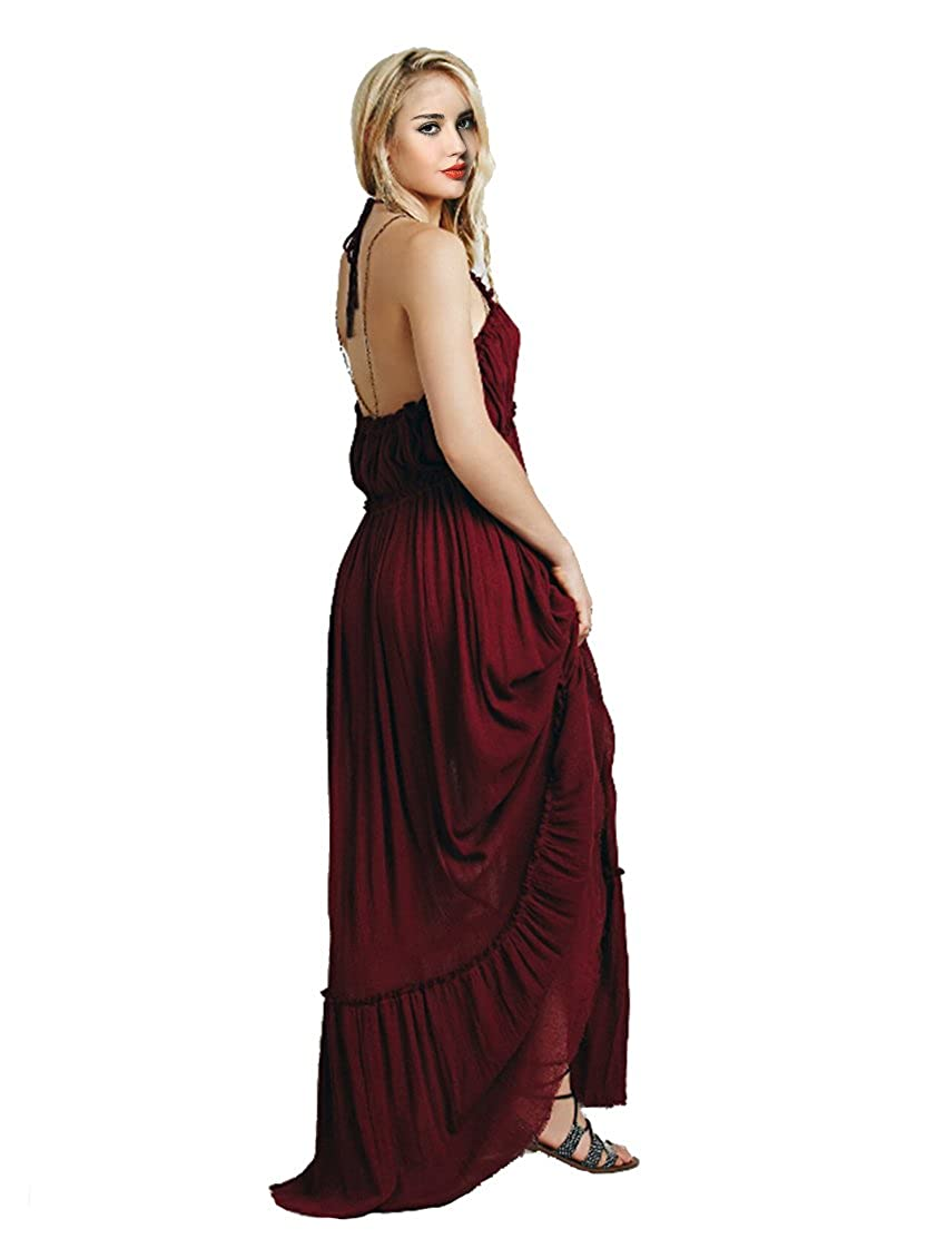 CA Mode Womens Halter Backless Bridesmaid Formal Evening Prom Gown Maxi Dress
