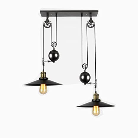 ba1ccdfc38c5 E27 Vintage Iron Pulley Chandeliers, Industrial Retractable Ceiling Lights  Antique Pulley Rise and Fall Light