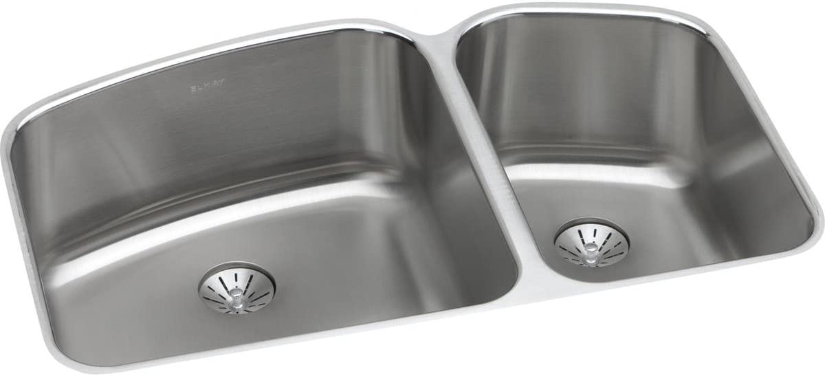 Elkay ELUH31229RPD Lustertone Classic 60 40 Double Bowl Undermount Stainless Steel Sink with Perfect Drain