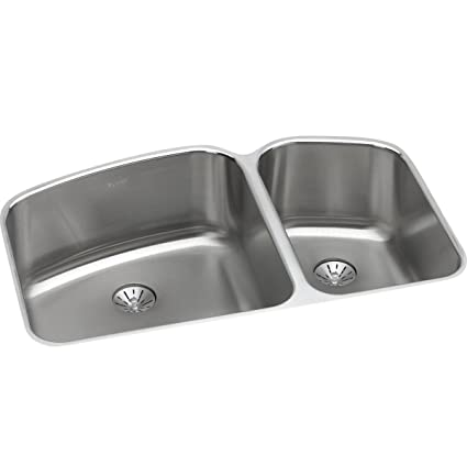 Elkay Lustertone ELUH31229RPD 60/40 Double Bowl Undermount Stainless Steel  Sink With Perfect Drain