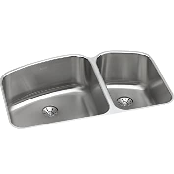 elkay lustertone double bowl undermount stainless steel kitchen sink with perfect drain