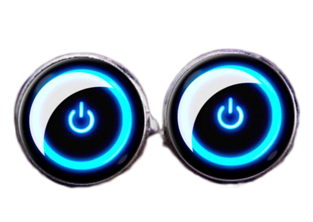 Fablcrew Mens Elegant Style Cuff Link Power Button Shape Blue Circular Cufflinks Size 1.8×1.8cm