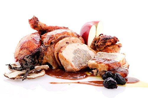 Pularda asada rellena de foie, setas, manzana y pistachos; con salsa de Oporto y ciruelas (10/12 comensales, 2,5Kg + 800g de salsa): Amazon.es: Alimentación ...