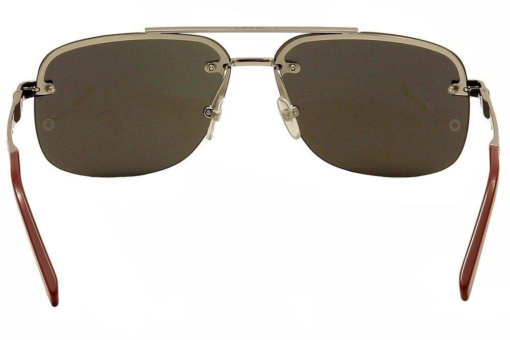 Mont Blanc Mens Designer Sunglasses Shiny Palladium//Smoke Mirror Lenses 62-13-140