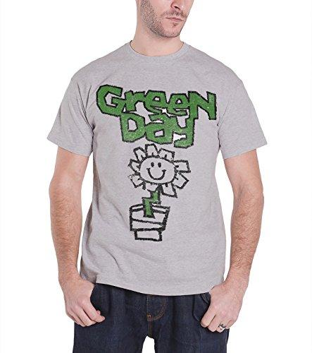 Galleon Green Day Mens T Shirt Grey Vintage Flower Pot