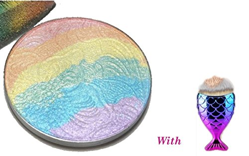 YABINA Rainbow Highlighter Eyeshadow Mineral Sleek Powder 3D Naked Smoky Bronzer Blush Contour Palette (Highlighter Rainbow)