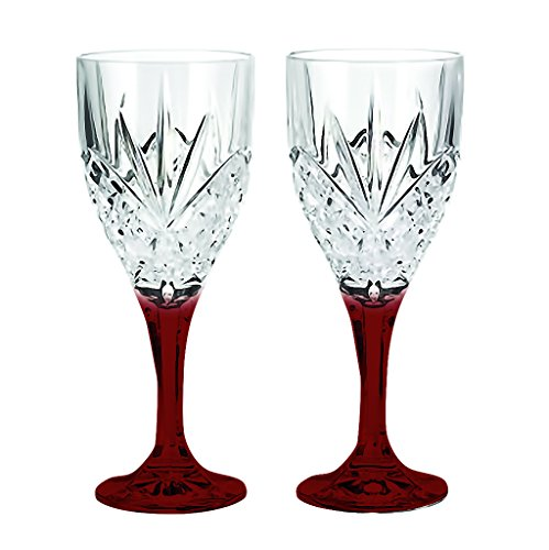 Red Godinger Dublin Goblet 9 oz. with Colored Stem Accent -set of 2