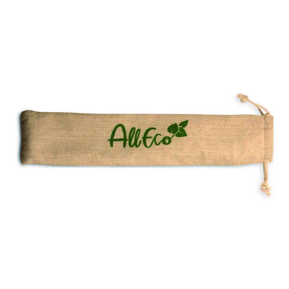 1 gerade // 1 gebogen Eco-Beutel Premium-Qualit/ät wiederverwendbar /& plastikfrei nachhaltig Reinigungsb/ürsten umweltfreundlich AllEco Strohhalm wiederverwendbar Edelstahl 2er Set