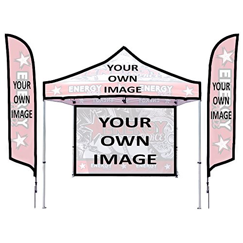 - Personalized Casita Showcase Kit - (1) 10ft Casita Canopy UV Graphic Package w/ Backwall and Rail &(2) 13ft Falcon Spike Base w/ Single-Sided Graphic Package