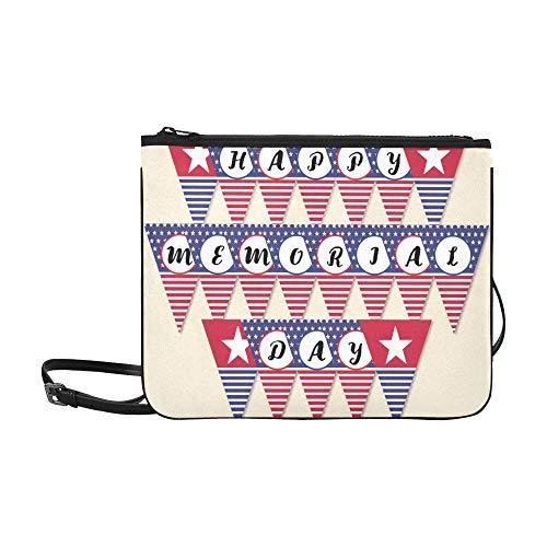 Happy Memorial Day Flag Banner Patriotic Party D Pattern Custom High-grade Nylon Slim Clutch Bag Cross-body Bag Shoulder Bag
