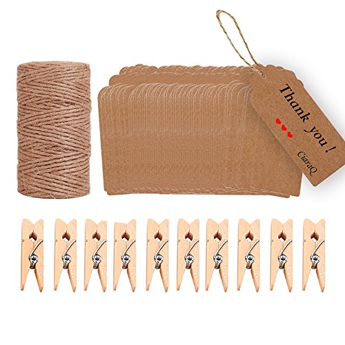 Festive Decorations - Jute Twine 328 Feet Natural Jute Rope and 10 Pcs Wood Clothespins with 100pcs Brown Rectangle Kraft Paper Gift Tags for DIY Crafts, Festive Decoration and Gardening Applications