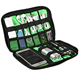 Electronics Accessories Organizer, SLYPNOS Compact Travel Organizer Small Gadgets Storage Bag USB Cable Charger Mobile Phone SD Card Earphone Power Bank, Black