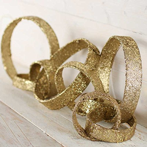 Set of 2 Sparkling Gold Chain Link Garlands for Home Decor and Decorating