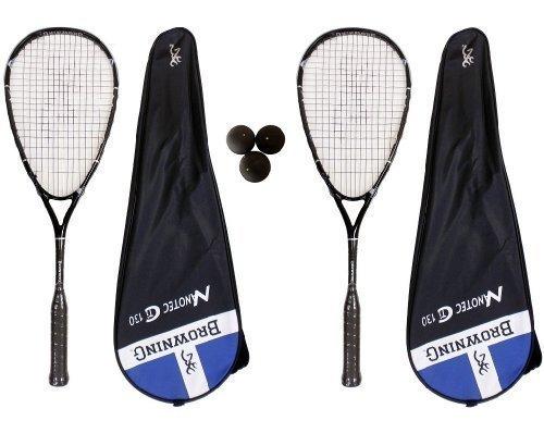 Browning NanoTec Ti 2 X 130 Raquette de Squash-Lot de balles de Squash Dunlop