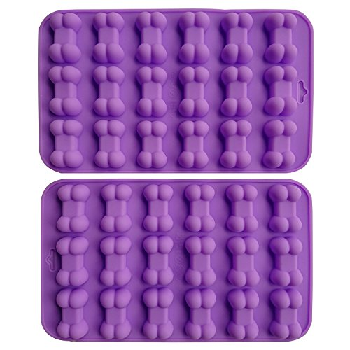 AxeSickle (2 per pack) Silicone Baking Molds Cake Chocolate Candy Pans Dog Treats Food Grade Bones Silicone Mold,Mini Bone Shape Silicone Ice Cube Trays,Soap Mold,Silicone Bone Pet Cookies Molds.