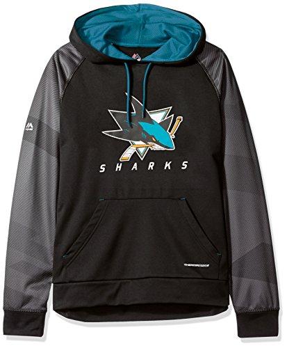 NHL San Jose Sharks Men's Penalty Shot Program Hooded Fleece, Small, Black/Active - Shot Black And Blue