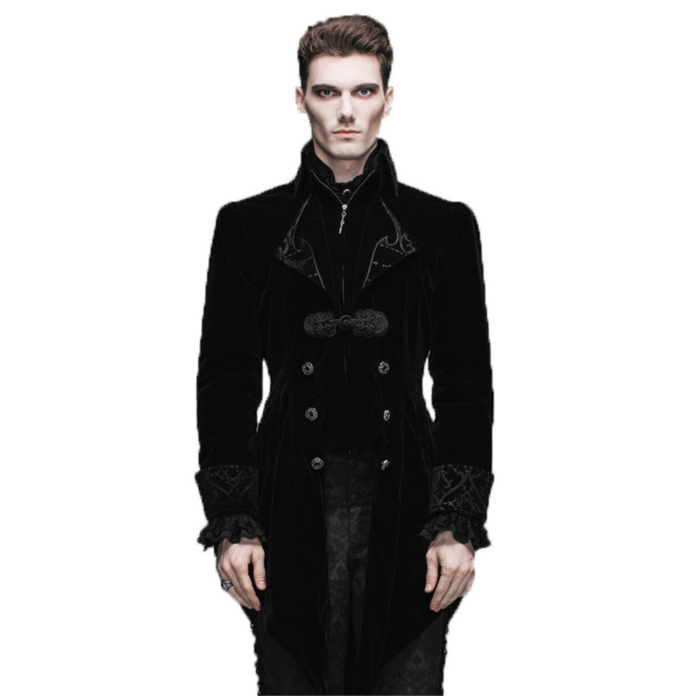 Steelmaster Steampunk Men's Swallow Tail Coat Gothic Winter Jacket (Black, XL)