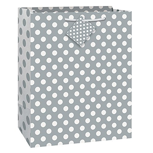 Unique Industries, Large Gift Bag, 12.5 x 10.5 inches – Silver Polka Dot