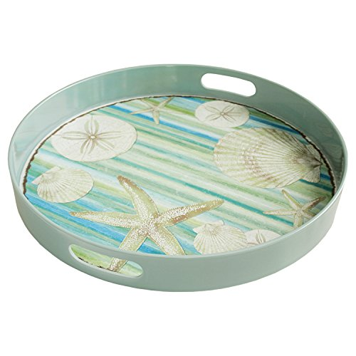 Round Melanine Blue Seashells Print Tray with Handles