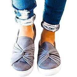 Huiyuzhi Womens Slip On Top Ruched Knot Flatform Fashion Sneakers (9 B(M) US, Grey)