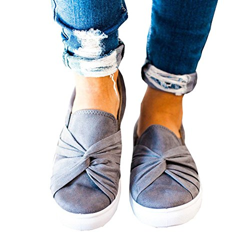 Huiyuzhi Womens Slip On Top Ruched Knot Flatform Fashion Sneakers (8.5 B(M) US, Grey)