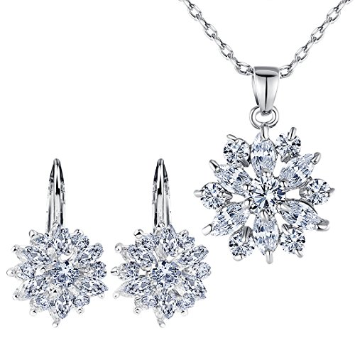 BAMOER 18K Rose Gold Plated Cubic Zirconia Snowflake Lever Back Earrings Necklace Set for Women Girls CZ Jewelry Set White Gold & White CZ - Flower 18k White Gold Earrings