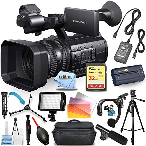Sony HXR-NX100 Full HD NXCAM Camcorder #HXR-NX100 PRO Bundle with Further Battery and Charger, 32GB SD, Tripod, Shoulder Stabilizer, LED Gentle + A lot Extra [International Version]