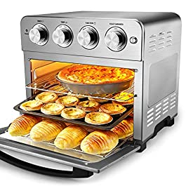 Geek Chef Air Fryer Toaster Oven, 6 Slice 24QT Convection Airfryer Countertop Oven, Roast, Bake, Broil, Reheat, Fry Oil…