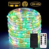 ALOVECO Rope Lights Outdoor, 72ft 336 LED String Lights Plug in Remote Dimmable 8 Modes Waterproof Indoor/Outdoor Rope String Lights for Party/Tree/Patio/Garden/Deck/Fence/Roof Decoration (Multicolor)