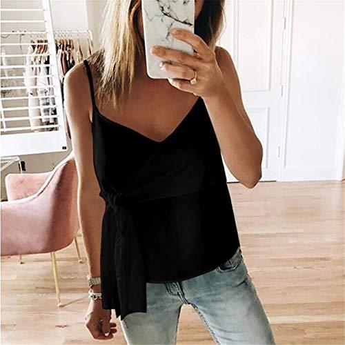 BAOHOKE Summer Fashion Casual Sleeveless Crop Solid Bandage Tops,Vest Sling,t Shirt Tops Blouse v Neck (Black,XXL) by BAOHOKE (Image #1)