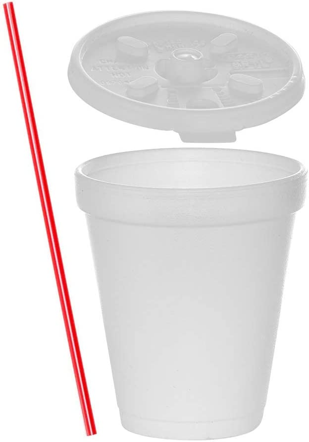 (200 Sets) 8 oz White Foam Cups with Lift'n'Lock Lids and Stirrers, Disposable Foam Drinking Cups, To Go Coffee Cups, Insulated Foam Cups
