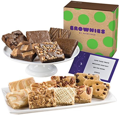 Fairytale Brownies Bar & Brownie Combo Gourmet Food Gift Basket Chocolate Box - 3 Inch Square Full-Size Brownies and 3 Inch x 2 Inch Blondie Bars - 15 Pieces