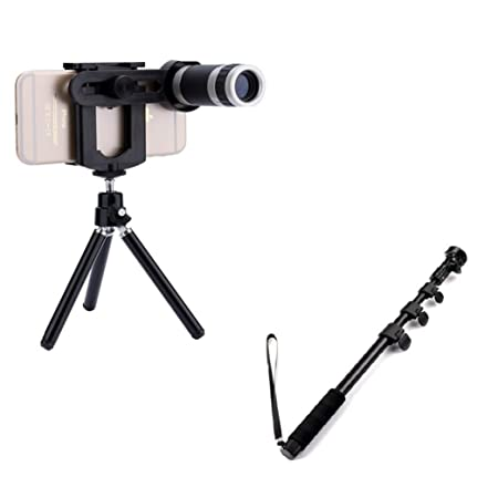 Drumstone Universal Mobile Camera Lens 8X Optical Zoom, with Bluetooth Multipurpose Selfie Stick